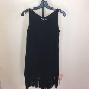 NWT ELIZABETH & JAMES BLK Sleeveless Fringe Dress